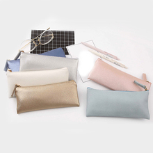 Fashion 1PC Soft Simple Leather PU Cosmetics Bags &Case Pencil Case Coin Stationery Storage bag