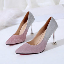 In the summer of 2019  new Korean version high-heeled womens pointed sequins fashion thin-heeled lazy shoes.