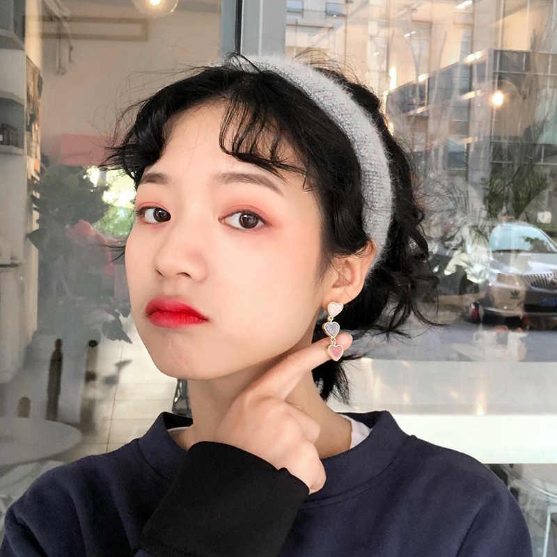 HUANZHI 2019 yeni sonbahar kore Chic kadife aşk kalp bağlantı zinciri küçük saplama küpe kadınlar kız için öğrenci hediye