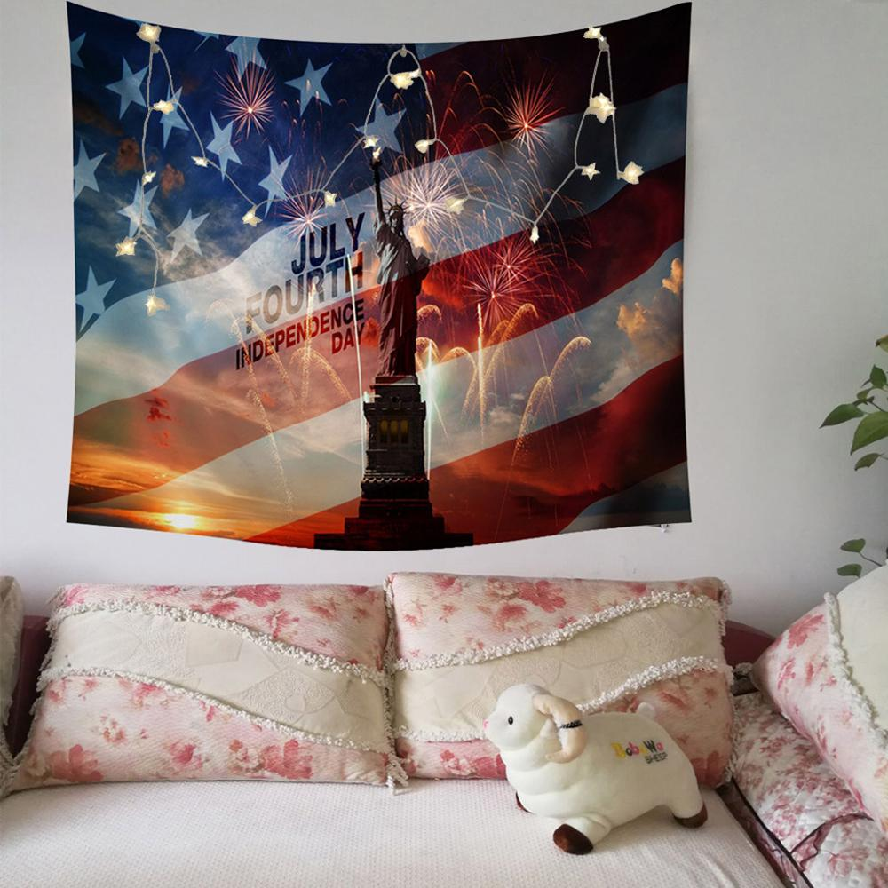 Independence Day Print Family Tapestry American style Light String Combination Wall Decoration accessories tenture mural image