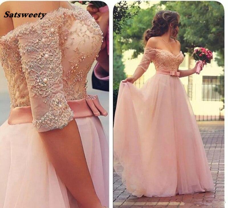 Платья подружки невесты с открытыми плечами, с коротким рукавом 2019 розовые кружевные аппликации, с бисером, с рюшами, тюлевые платья для вып