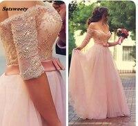 Off the Shoulder Половина рукава платья невесты 2019 розовый кружевной аппликации Бисер раскаты Ruched Тюль Пром платья Длинные плюс Размеры