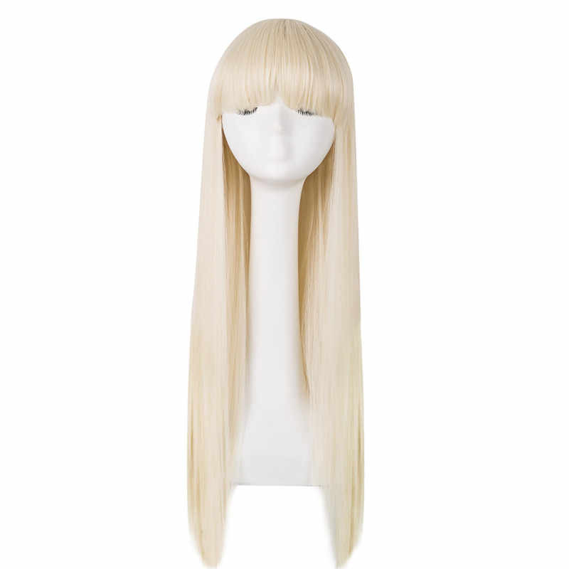 Blonde Wig Fei-Show Straight Hair Synthetic Heat Resistant Fiber Long Women Hairpiece Flat Bangs Costume Cos-play Hairpiece