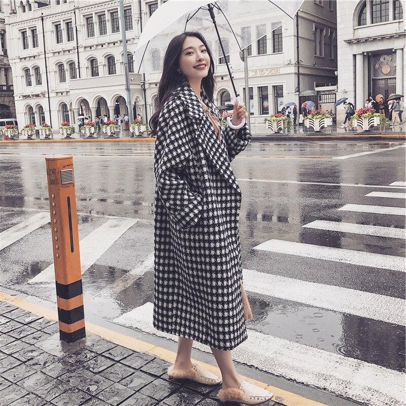 Pied Femme Mode poule de Longues Bouton Cocon Carreaux Laine 2017 Simple En Pincée Manteau À Houndstooth Coton Épaissie qFfxt6