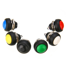 6X Momentary ON/OFF Push Button Toggle Switches 12mm Mount Hole Yellow Blue Red White Black Green Mini Round Switch Waterproof