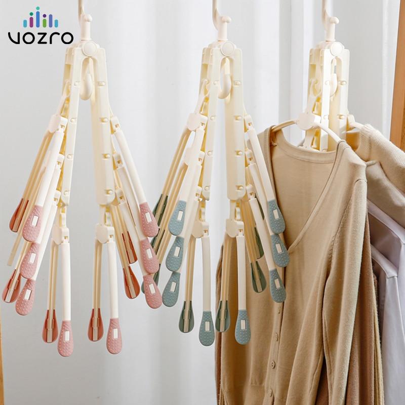 [8 de huesos de pescado] VOZRO plegable secadora de ropa de secado rack perchas para secadora niños al aire libre colgando lavandería soporte telescópico