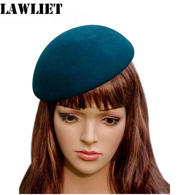 A048 Green Bowl Circle Wool Felt Pillbox Hat Millinery TearDrop Fascinator Base Cocktail Party