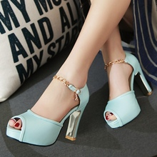 Heavy Platform Thick High Heeled Black Blue White Purple Pink PU Buckle 2016 Spring Fashion Large Size 40 41 42 43 Party Shoes