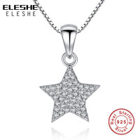 ELESHE 925 Sterling Silver Newest Luxury Full CZ Crystal Star Pendant Necklace Party Wedding Jewelry For