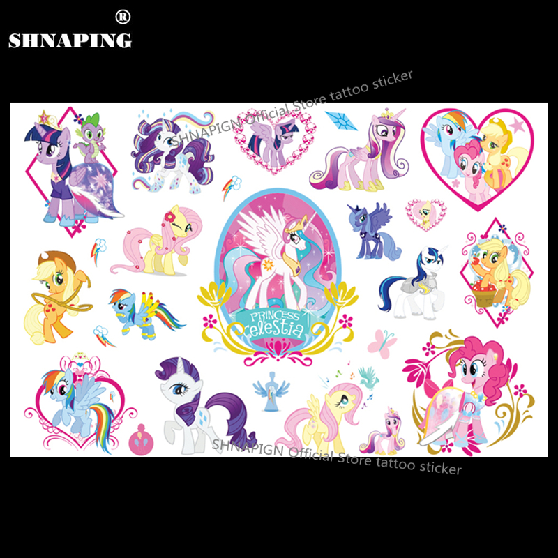 SHNAPIGN Petit Poney Celestia Enfant Tatouage Temporaire Body Art Flash Tatouage Autocollants 17 * 10 cm Étanche Style Tatoo Autocollant