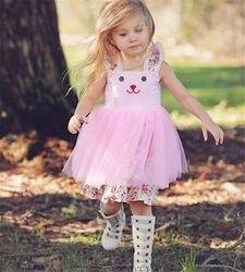 Verão Criança Meninas Do Bebê Coelho Bonito Sem Mangas Floral Vestido de Tule Tutu vestido de Verão Roupas