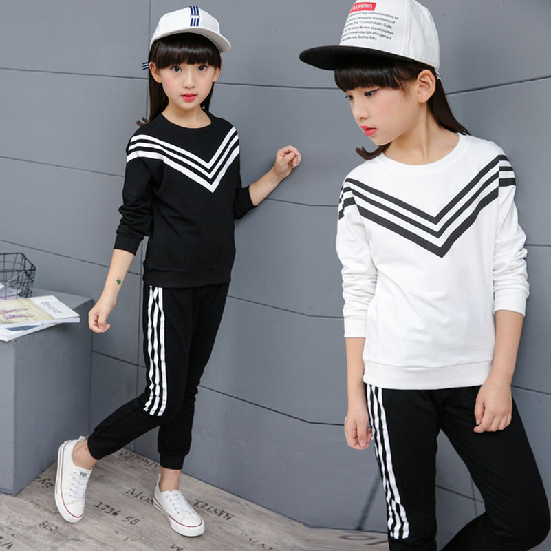 New Girls Stripe Sports Suit Korean Fashion Autumn Spring Clothing Set Long Sleeve Sports Outfit for Girls Children 4~14 Years купить дешево онлайн