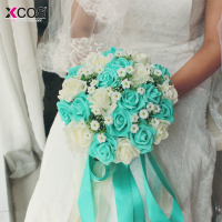 2016 Blue And White Wedding Bouquet Handmade Artificial Flower Rose Buque Casamento Bridal Bouquet For Wedding