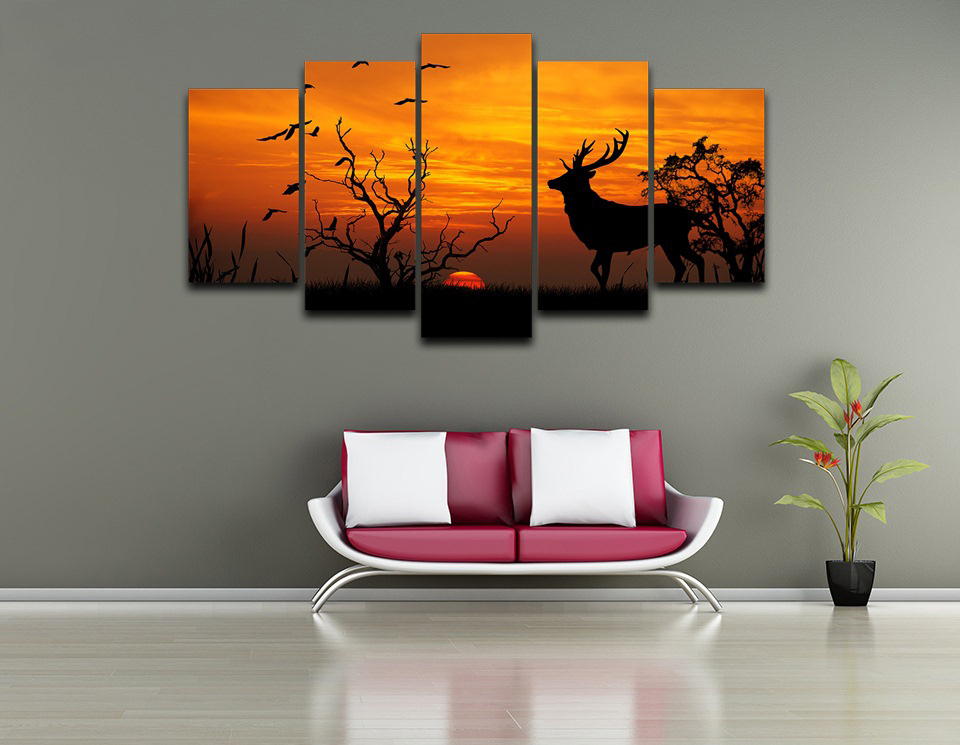 5 Panels Canvas Prints Painting Wall Abstract Art Animal