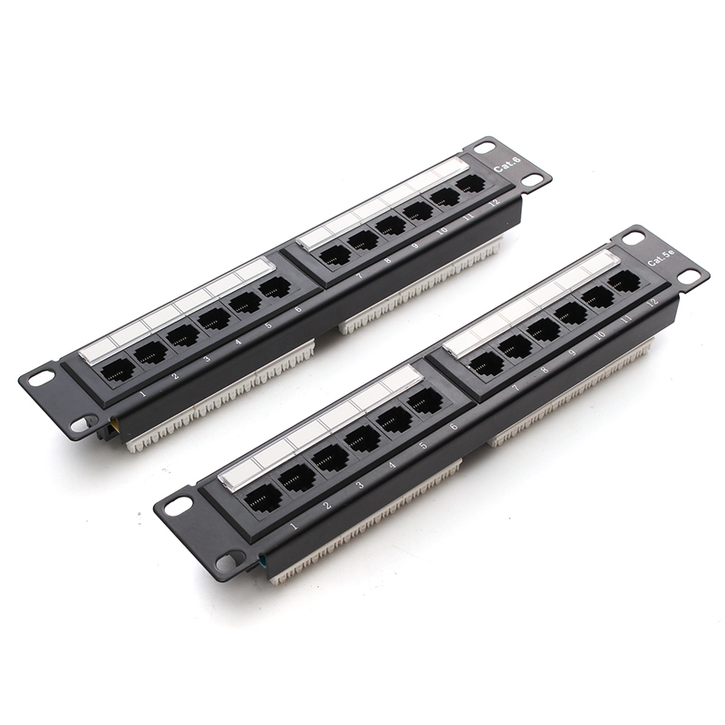 Cat6 Cat5e 12 Port RJ45 Patch Panel UTP Ethernet LAN Network Adapter Rack Cable Wall Mounted