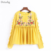 Deturbg Women's Floral Embroidery Pullover Shirt Female Long Sleeve O Neck Gold Pleated Ruffled Blouse Tops 2017 Autumn Br439