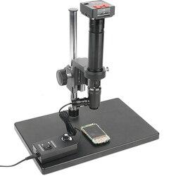400X kontroli powiększ monokularowy światło współosiowe C mocowanie obiektywu zestaw + 38MP HDMI USB przemysłu mikroskopowa kamera Stereo stojak na PCB