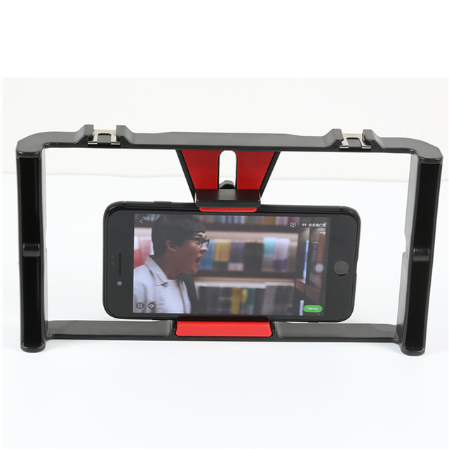 Portable Dual Handheld Video Cage Stabilizer Film Steady Handle Grip Rig For Smart Mobile Phones Video Light Microphone