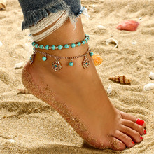 Chic Pattern Sun Flower Blue Resin Beads Anklet Luxury Gold Color Metal Anklet Bracelet For Female Party Gift Jewelry chic solid color anklet for women