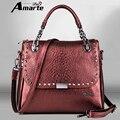 Amarte marca de luxo jacaré saco mulheres da forma senhora vermelho bolsas femininas sacolas saco bolsa feminina mulheres sacos de ombro