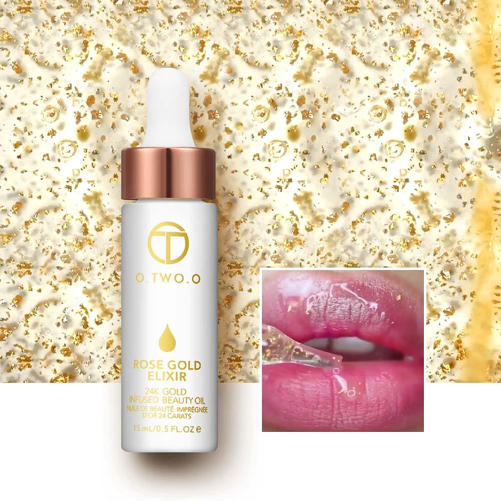 O. Dwóch. O 24K różowe złoto eliksir olejek podkład do makijażu usta baza twarzy makijaż witamina nawilżający łatwe do wchłonięcia pielęgnacja twarzy 3