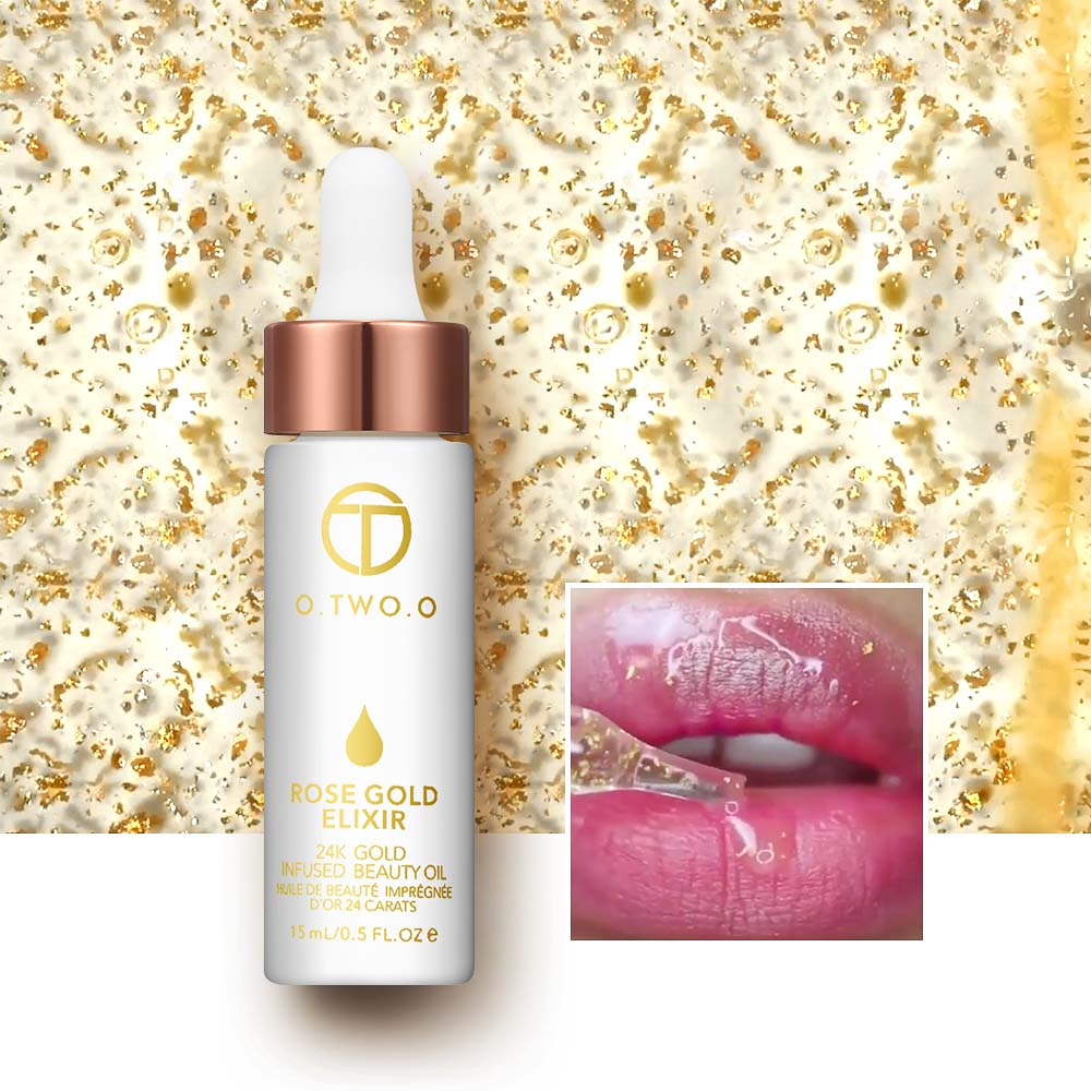 O.TWO.O 24K Rose Gold Elixir Essential Oil Makeup Primer Lips Face - Makeup - Foto 4