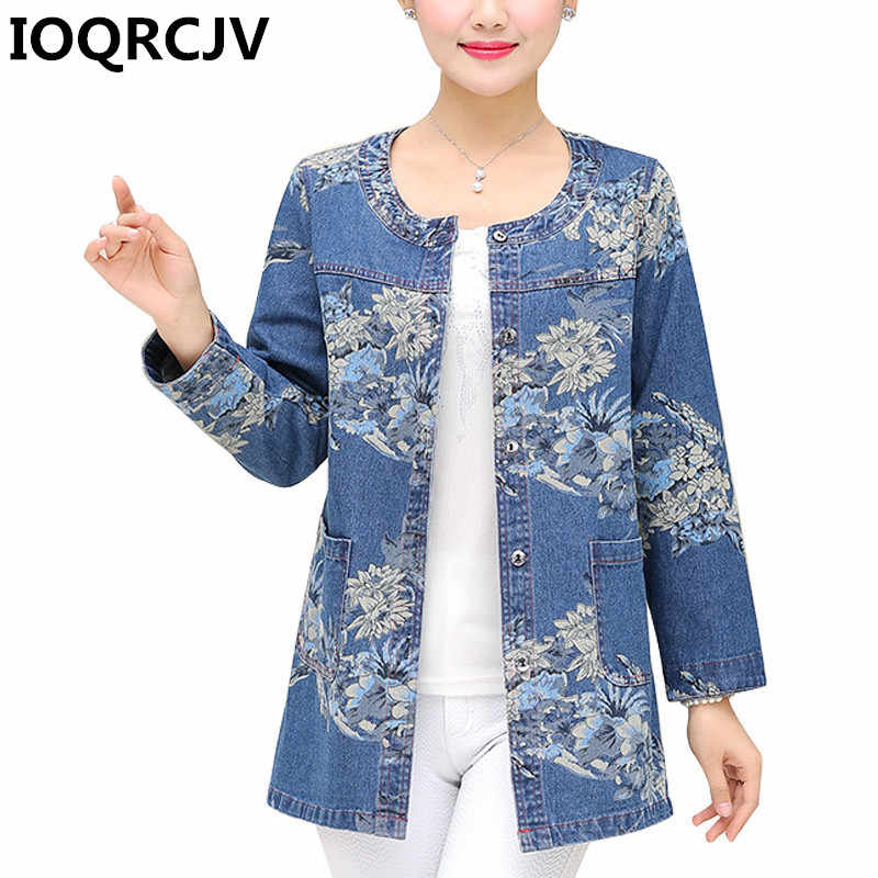 2019 Autumn Women Denim Jackets New Tops Ladies Print Single Breasted Casual O-Neck Loose Jean Coats Large Size Outerwear R571