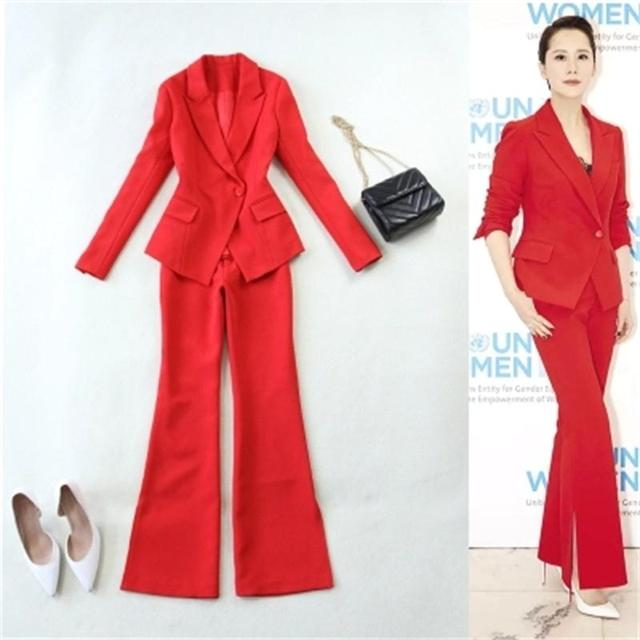 Red Women Pant Suits  2018 fashion suit spring and summer new big red Slim buckle suit + speaker trousers suit Women