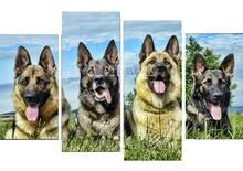 Новый 5d diy Алмазная картина четыре собаки полный квадрат дрель