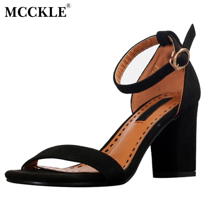 MCCKLE 2017 Women Shoes Woman Sandals Open Toe Black Buckle High Heels Ankle Strap Pumps Summer Casual Comfortable New xiaying smile summer new woman sandals platform women pumps buckle strap high square heel fashion casual flock lady women shoes