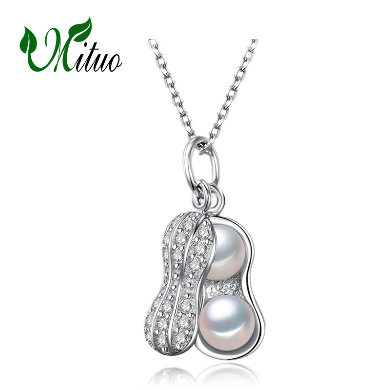 MITUO Pearl Jewelry,Pearl Pendant Necklace,fashion Freshwater Pearl s925 Silver office career peanut Necklace Pendant,gift box