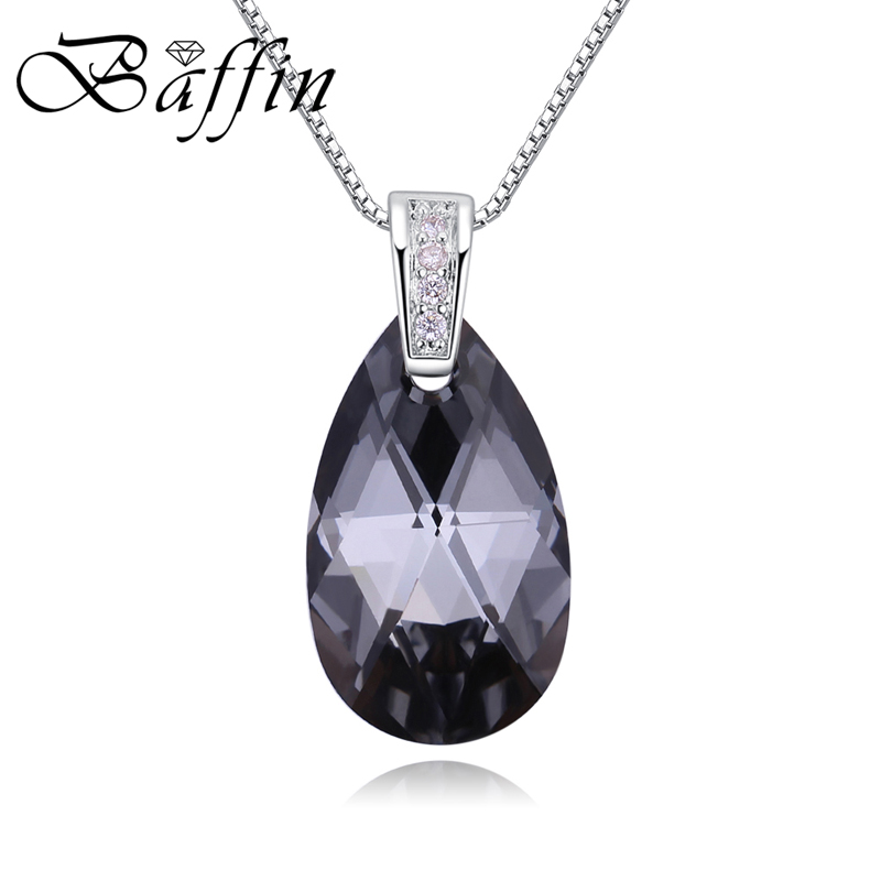 BAFFIN Original Crystals From Swarovski Elements Water Drop Pendant Necklace Silver Chain For Women Classic Jewelry 2018 Gifts baffin crystals pave jewelry sets round pendant necklace maxi rings luxury accessories for women made with swarovski elements