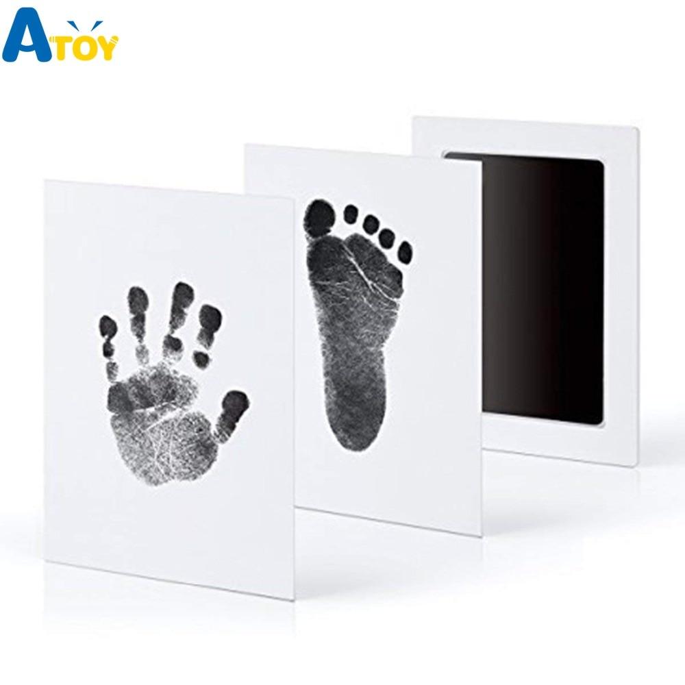 Footprint Imprint Kit Baby Ink Pad Storage Memento Ink Newborn Baby Souvenir Drawer Inkless Handprint Casting Photo Frame Kits