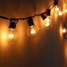 25 lâmpadas g40 festão luzes da corda guirlanda de natal ao ar livre jardim festa casamento pátio rua luzes fadas branco quente