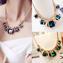 New Design Rhinestone Gold Plated Women Pendant Chain Choker Chunky Statement Bib Blue Green Pendant