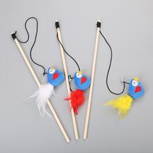 1PC Cat Toy Pet High Quality Feather Metal Plastic Small Bell Funny Stick Interactive Pretty