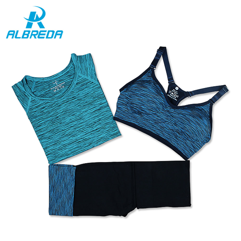 ALBREDA Women Sport Running Clothes Yoga Suit Summer Bra Set 3 Piece Female Short-sleeved pants Outdoor quick drying Sportswear