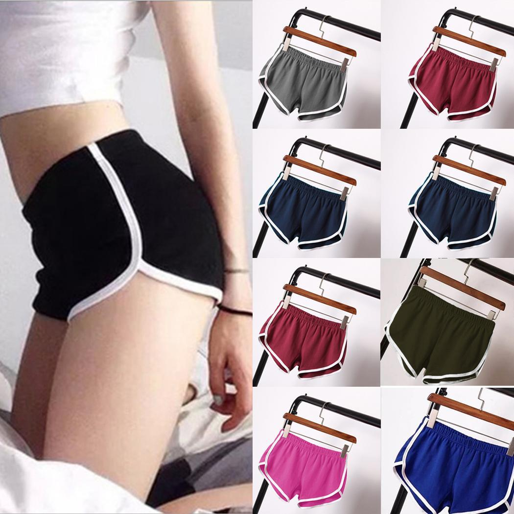 Women Casual Solid Summer Sports Shorts Loose Gym Thin Workout Yoga Shorts Mid Waist Elastic Waist