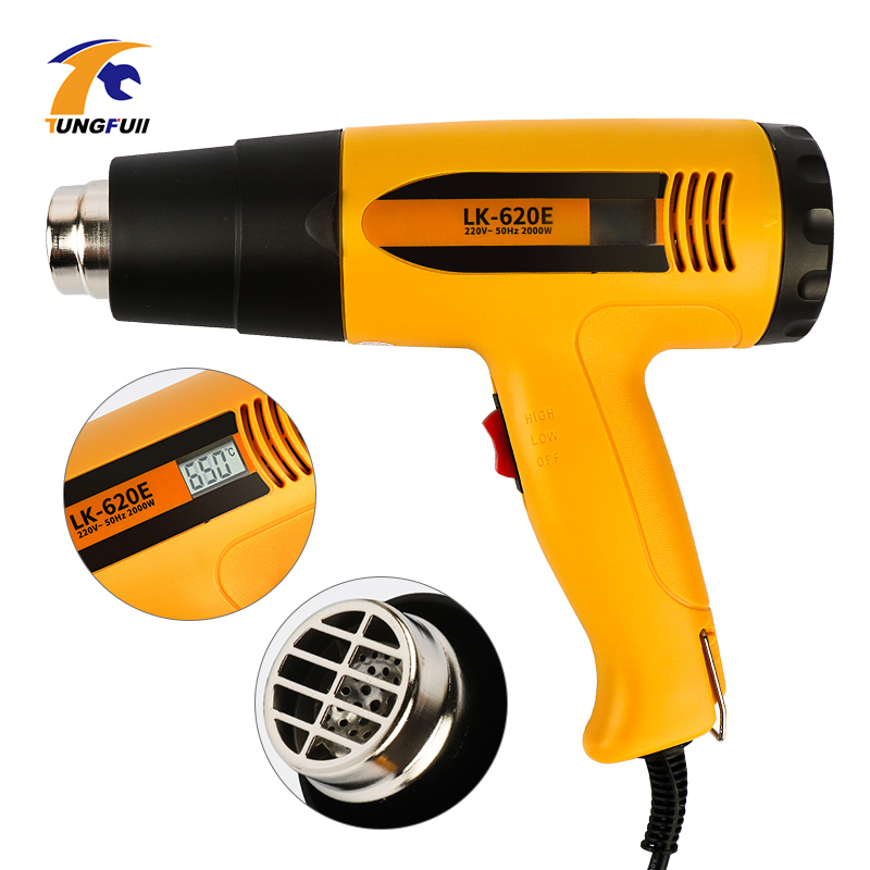 2000W Heat Gun Hot Air Gun Thermoregulator Professional LCD Display Soldering Hair Dryer Construction Power Tool 220V EU