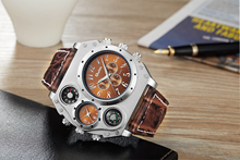 цена на Oulm 1349 Men's Dual Movement Sports military Watch with Compass & Thermometer decoration leather strap quartz wristwatch