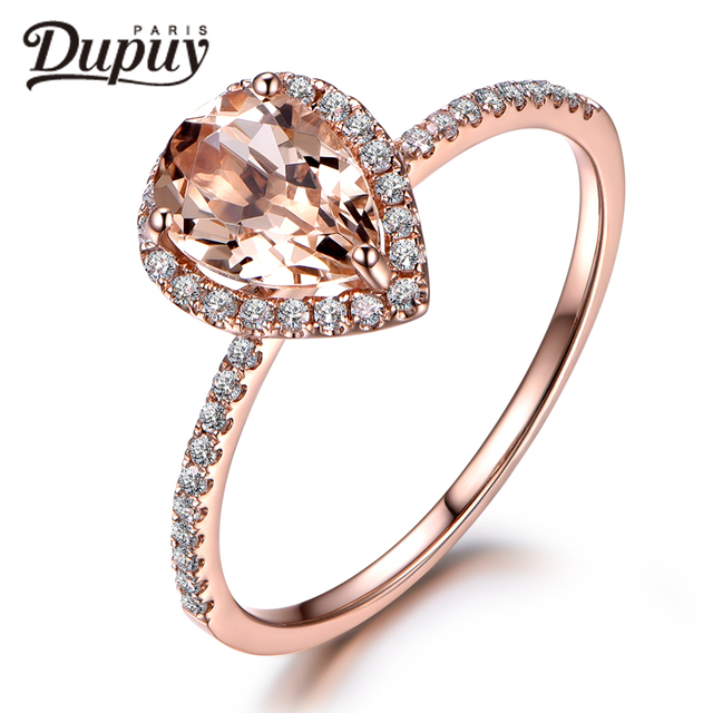 DUPUY Stackable Classical 6*9mm Pear Cut Morganite Ring Halo Ring Half Eternity Diamond Ring 14k Rose Gold Ring Jewelry F0040MO