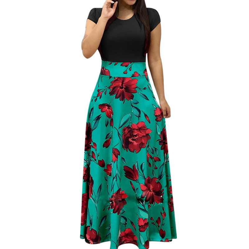 Maxi Dresses for Women Summer,Casual Dresses Casual Floral Printed Maxi Dress Short Sleeve Party Long Dress