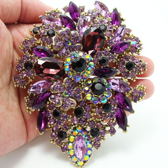 Fashion Purple Dual Droplets Flower Group Rhinestone Art
