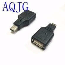 Mini-USB 2.0 Женский Micro/Mini USB B 5-контактный штекер OTG Хост-адаптер конвертер Разъем до 480 Мбит/с черный aqjg