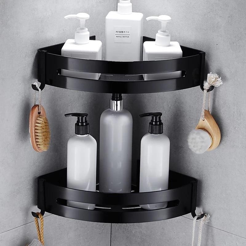 Nail Free Space Aluminum Black Bathroom Shelf Cosmetic Rack With Single Lever Bath Corner Basket With Hook Bathroom Rack Shelf C 032365bathroom shelf bathroom shelf convenient rack with hook accessories colorful moistureproof environmental beautiful