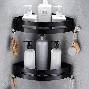 Image 1 - Nail Free Space Aluminum Black Bathroom Shelf Cosmetic Rack With Single Lever Bath Corner Basket With Hook Bathroom Rack Shelf C