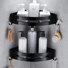 Prego espaço livre de alumínio preto prateleira do banheiro rack cosméticos com única alavanca banho canto cesta com gancho prateleira rack banheiro c