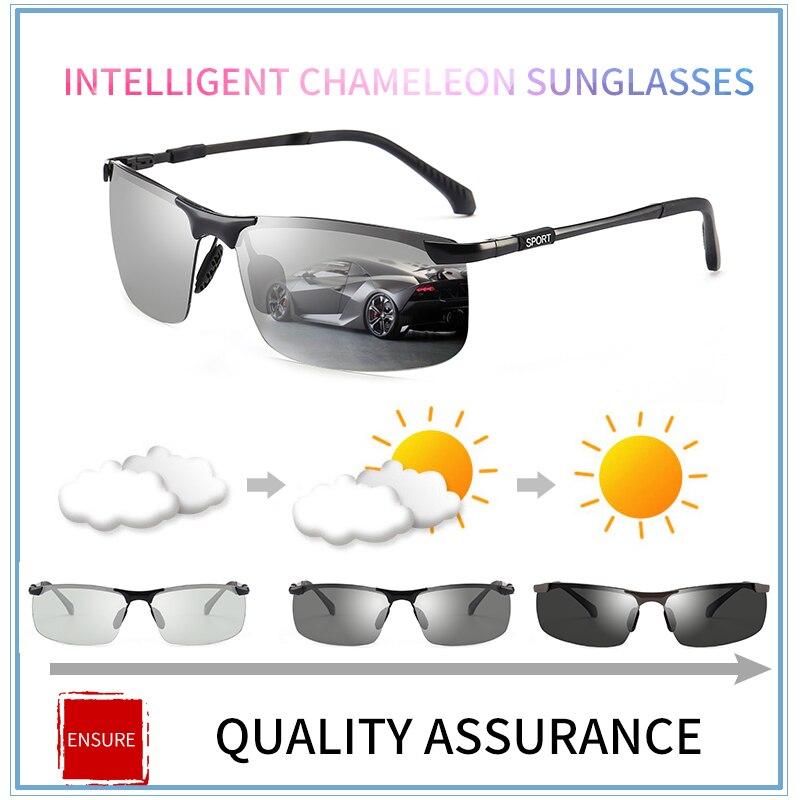 2018 marke Photochrome Sonnenbrille Männer Polarisierte Chameleon Verfärbung sonnenbrille für männer mode randlose platz sonnenbrille