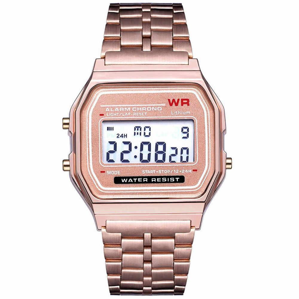 2019 LED cyfrowy wodoodporny zegarek kwarcowy sukienka złoty zegarek na rękę kobiety mężczyźni montre reloj relogio zegarek wojskowy Sport zegarek