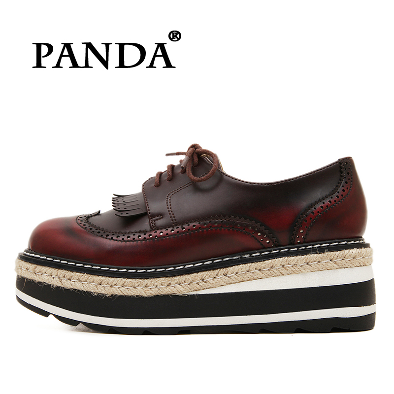 6e52feca41e Oxfords 2016 Fashion Women Dress Genuine Leather Fringe Platform Shoes  Bullock Carved for women Brogues Leisure Vintage Flats-in Women s Flats  from Shoes on ...